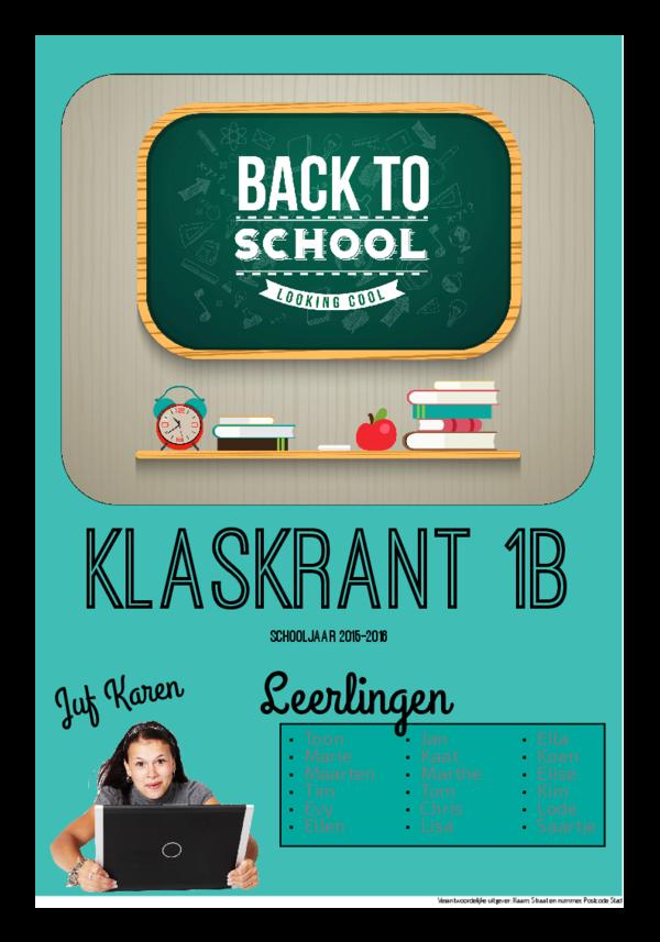 Maak je eigen krant sjabloon klaskrant begin schooljaar | Happiedays