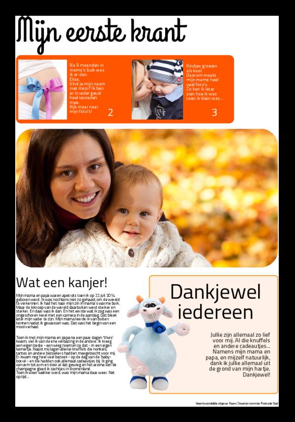 Maak je eigen krant sjabloon geboortekrant | Happiedays