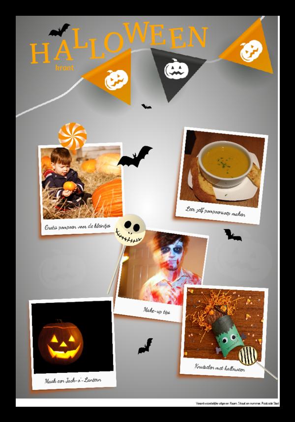 Maak je eigen krant sjabloon halloween | Happiedays
