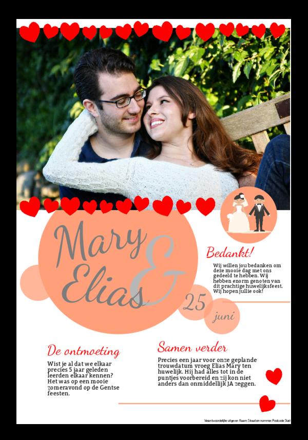Maak je eigen krant sjabloon huwelijksbedanking | Happiedays
